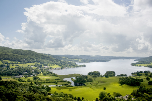 Landscape of Lake Windermere, Lake District, Cumbria, UK