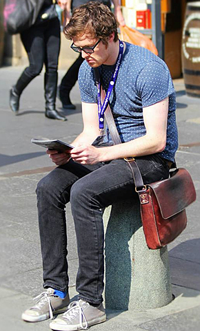 Copywriter Matt takes a break on the Royal Mile after an exhausting but fulfilling day walking around Scotland's capital