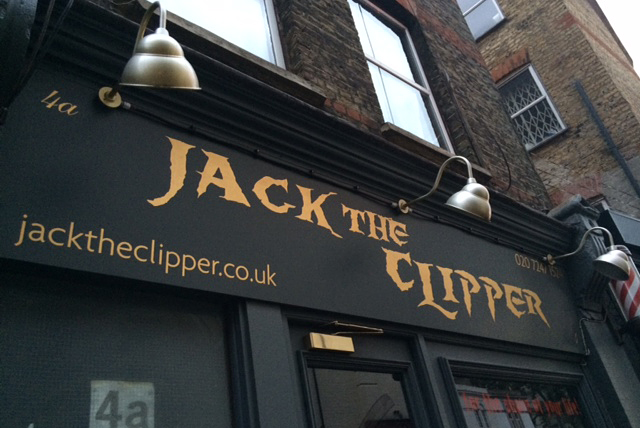 Jack the Clipper Hairdressers, near Petticoat Lane Market: Jack the Ripper muscling in on Sweeney Todd's barber/serial killer racket.
