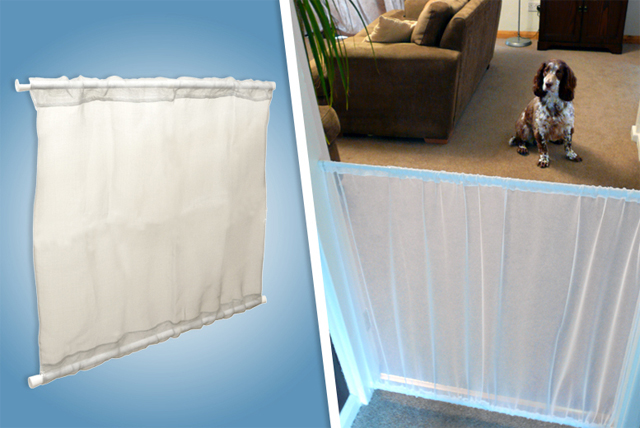 A great way to keep mischievous pets from roaming all areas of the house unattended, this handy nylon panel gate can instantly be secured across most doorways thanks to its adjustable steel tension rods.