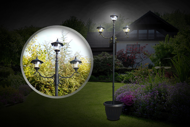 Powered by solar energy - meaning there's no need for unsightly wires or unnecessarily large energy bills - this triple-headed lamp post is a stylish yet economical choice for any garden.