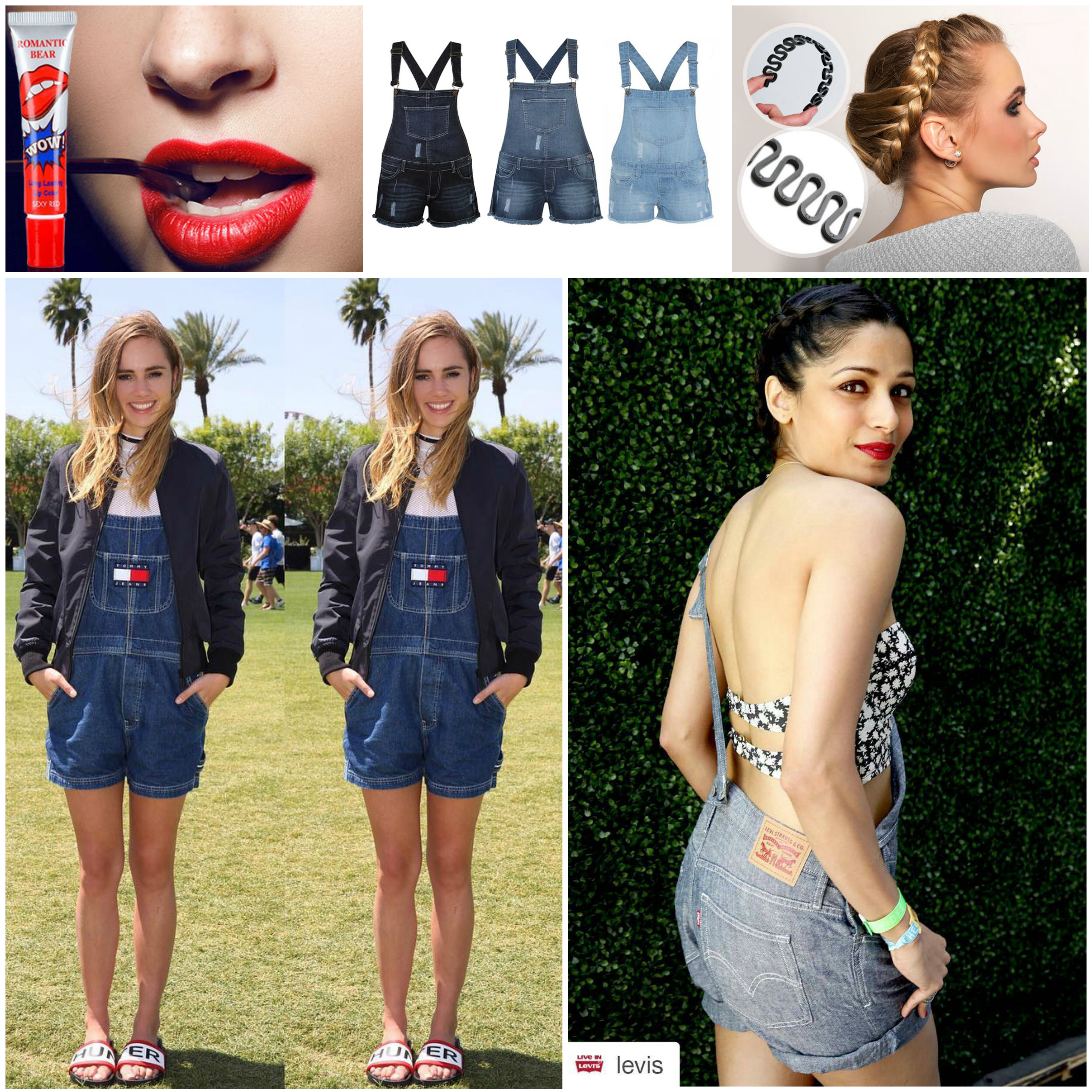 Suki Waterhouse, Frieda Pinto, Festival Fashion, Coachella, Denim Dungaree Shorts, Short Dungarees, Braided, Plaits