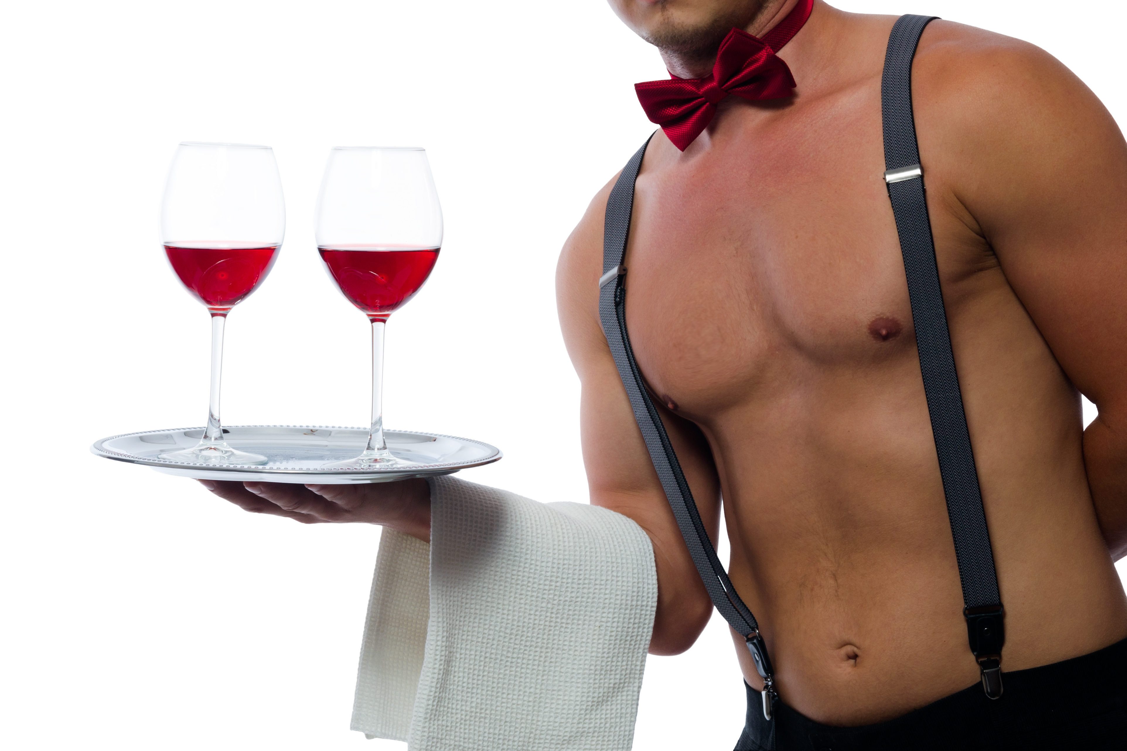 red wine on a tray in the hands of a bartender