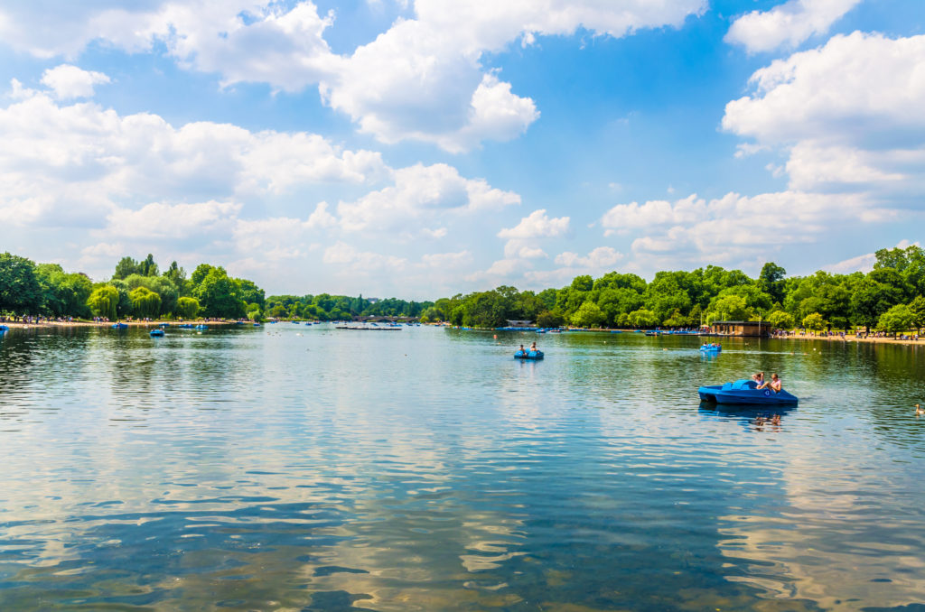 Paddling boats at the Serpentine Lake in Hyde Park