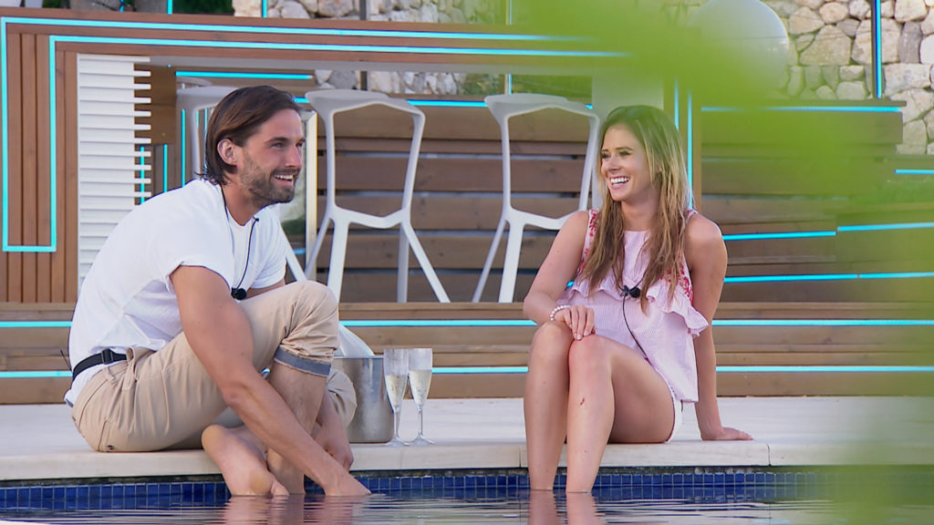 From ITV Studios Love Island: SR3: TX32 on ITV2 Pictured: Jamie and Camilla date. This photograph is (C) ITV Plc and can only be reproduced for editorial purposes directly in connection with the programme or event mentioned above, or ITV plc. Once made available by ITV plc Picture Desk, this photograph can be reproduced once only up until the transmission [TX] date and no reproduction fee will be charged. Any subsequent usage may incur a fee. This photograph must not be manipulated [excluding basic cropping] in a manner which alters the visual appearance of the person photographed deemed detrimental or inappropriate by ITV plc Picture Desk. This photograph must not be syndicated to any other company, publication or website, or permanently archived, without the express written permission of ITV Plc Picture Desk. Full Terms and conditions are available on the website www.itvpictures.co.uk. For further information please contact: james.hilder@itv.com / 0207 157 3052