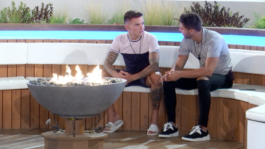 From ITV Studios Love Island: SR3: TX39 on ITV2 Pictured: Mike Sam talk about the girls they fancy. This photograph is (C) ITV Plc and can only be reproduced for editorial purposes directly in connection with the programme or event mentioned above, or ITV plc. Once made available by ITV plc Picture Desk, this photograph can be reproduced once only up until the transmission [TX] date and no reproduction fee will be charged. Any subsequent usage may incur a fee. This photograph must not be manipulated [excluding basic cropping] in a manner which alters the visual appearance of the person photographed deemed detrimental or inappropriate by ITV plc Picture Desk. This photograph must not be syndicated to any other company, publication or website, or permanently archived, without the express written permission of ITV Plc Picture Desk. Full Terms and conditions are available on the website www.itvpictures.co.uk. For further information please contact: james.hilder@itv.com / 0207 157 3052