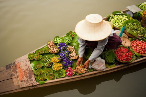 Floating markets are a common tradition throughout Southeast Asi